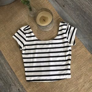 Garage black & white striped scoop neck crop top